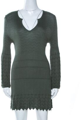 Missoni M Sage Green Chevron Knit Wool Mini Dress L