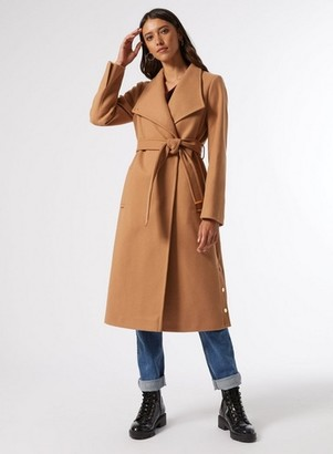 Dorothy Perkins Womens Cream Glossy Funnel Coat