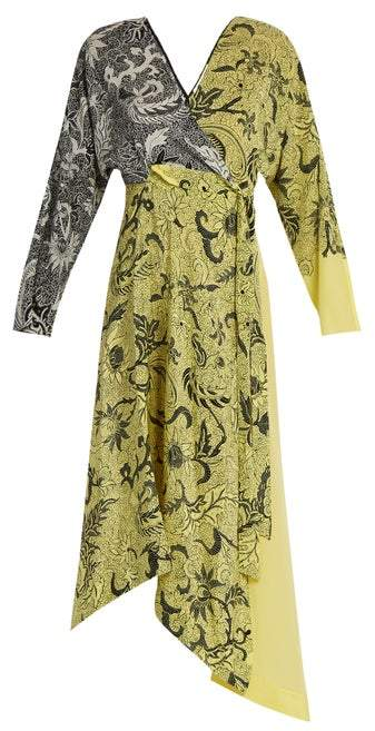 Diane von Furstenberg Bi Colour Silk Crepe De Chine Dress - Womens - Yellow Print