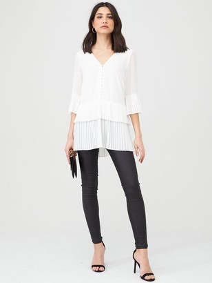 Very Essential Pleated Button Detail Tunic - Ivory