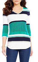 Westbound V-Neck 3/4 Sleeve Striped Sweater