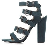 Charlotte Russe Strappy Buckled Chunky Heel Sandals