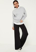 Missguided Black Jersey Casual Wide Leg Trousers