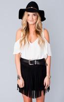 MUMU Rancho Fringe Skirt ~ Black Faux Suede