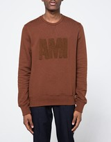 Ami Crew Neck Sweatshirt in Cognac