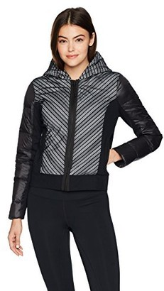 Blanc Noir Women's Chevron Mesh Reflective Hooded Bomber Jacket
