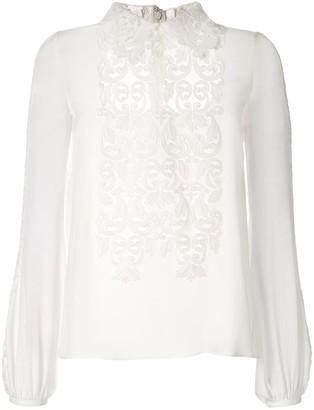 Giambattista Valli silk appliqué blouse
