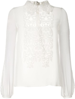 Giambattista Valli Silk Applique Blouse