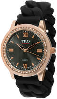JCPenney TKO ORLOGI Womens Crystal-Accent Chain-Link Black Silicone Strap Stretch Watch