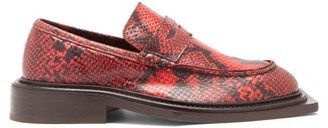 Martine Rose Volcano Exaggerated-sole Python-effect Loafers - Red
