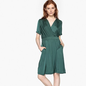 La Redoute Collections Satin Wrapover Elasticated Waist Dress