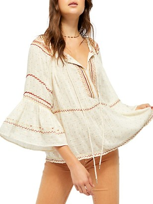 Free People Talia Embroidery Bell-Sleeve Top
