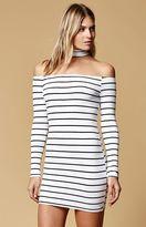 Reverse Starlet Choker Off-The-Shoulder Dress