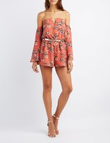 Charlotte Russe Floral Notched Off-The-Shoulder Romper