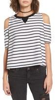 BP Women's Stripe Cold Shoulder Top