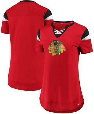 Women's Fanatics Branded Red Chicago Blackhawks Iconic Athena Lace-Up V-Neck T-Shirt