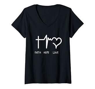 Womens Womens Faith Hope Love Christian Shirt Jesus Cross Religious V-Neck T-Shirt