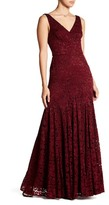 Vera Wang Sleeveless Double V-Neck Lace Gown