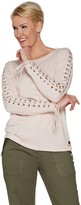 Peace Love World Long Sleeve Lace Up Top