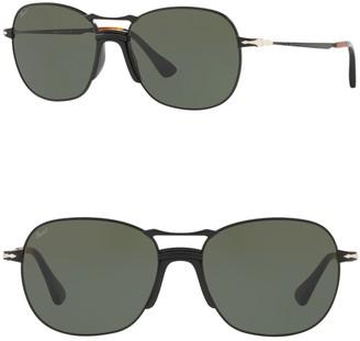 Persol 56mm Round Metal Sunglasses
