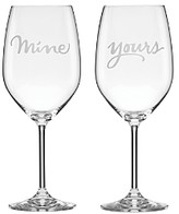 Kate Spade Two Of A Kind Yours & Mine Wine Glass, Set of 2