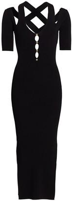 Versace Strappy Cutout Midi Bodycon Dress.