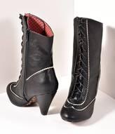 Bettie Page Vintage Style Black Leatherette Lace Up Renata Bootie