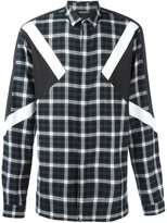 Neil Barrett contrast panel check shirt - men - Cotton - 40