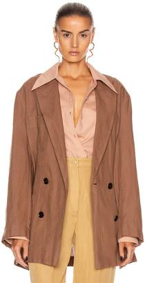 Acne Studios Linen Suit Jacket in Mink Brown   FWRD