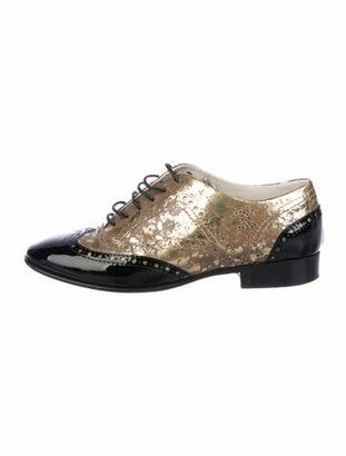the Hangman Derby by Sample Line Women gold leather derby shoe flat gold suede oxfords