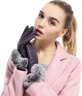 Golovejoy Women Touch Screen Leather Lined Warm Gloves Fur Mittens