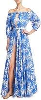 Milly Jenny Off-the-Shoulder Slit Front Floral-Print Maxi Coverup Dress