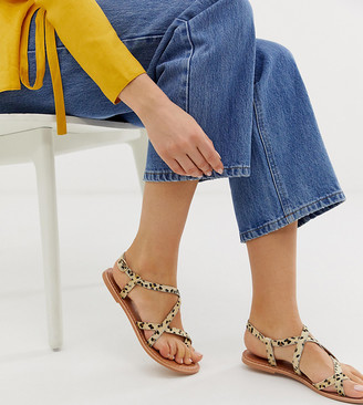 New Look leather multi strap flat sandal in animal-Stone