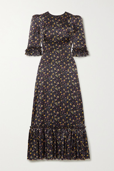 The Vampire's Wife Festival Ruffled Floral-print Silk-satin Maxi Dress - Black