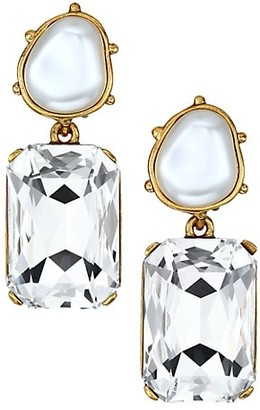 Oscar de la Renta Faux Pearl Swarovski Crystal Octagon Clip-On Drop Earrings