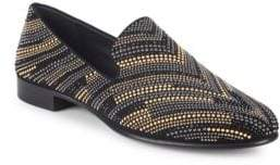 Giuseppe Zanotti Chevron Studded Leather Loafers