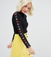 Lazy Oaf High Neck Sweater With Rainbow Hearts