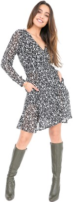 likemary Wrap Dress Long Sleeve Double Layer Forest Print M - Womens V-Neck Wrap-Around Midi Floaty Dress - Perfect for Office Dates Parties