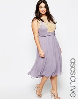 Asos WEDDING Midi Dress with Lace Applique