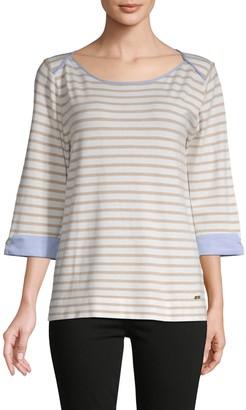 Calvin Klein Striped Folded-Cuff Pullover