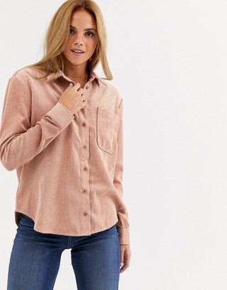 Miss Selfridge cord shirt in light pink