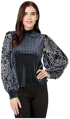 BCBGMAXAZRIA Long Sleeve Top (Midnight Teal) Women's Clothing