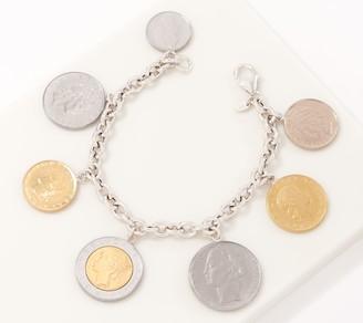 Italian Silver Lire Coin Charm Bracelet Sterling Silver