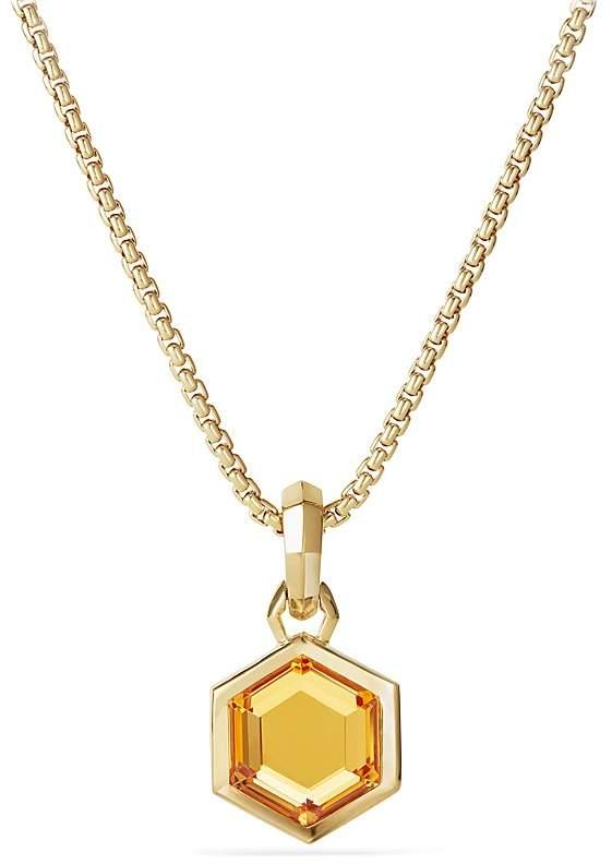 David Yurman Hexagon Cut Amulet with Citrine in 18K Gold