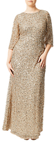 Adrianna Papell Plus Size Three-Quarter Sleeve Beaded Mermaid Gown, Champagne Silver