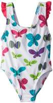 Hatley Girl's Bow One Piece Bathing Suit Ditsy Butterflies Swimsuit