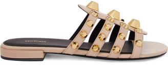 Balenciaga Giant Studded Textured-leather Slides - Beige