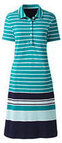 Lands' End Women's Petite Short Sleeve Mesh Polo Dress-Seafoam Blue Multi Stripe