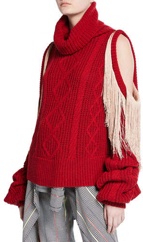 Hellessy Lawrence Turtleneck Sweater with Shoulder Cutouts & Fringe