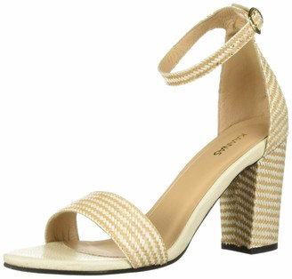 Kaanas Women's Glasgow Straw Open Tow Heeled Ankle Strap Sandal Shoe